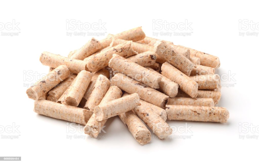 Pellets wood isolated on white stock photo