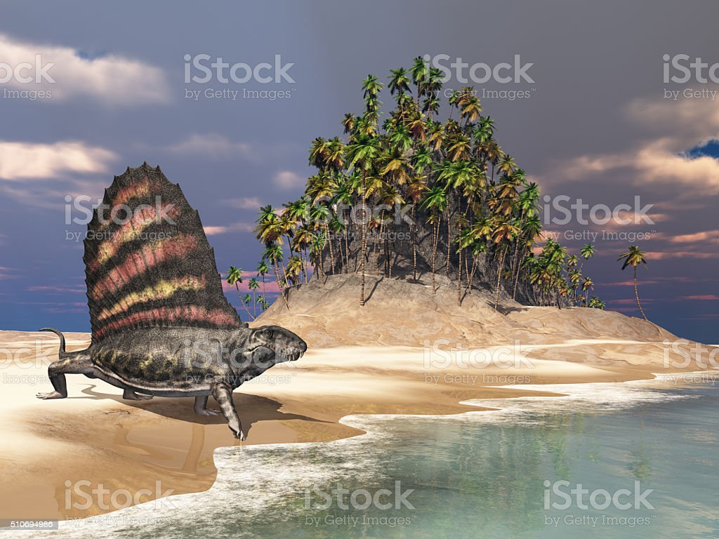 Pelycosaur Dimetrodon by the sea stock photo