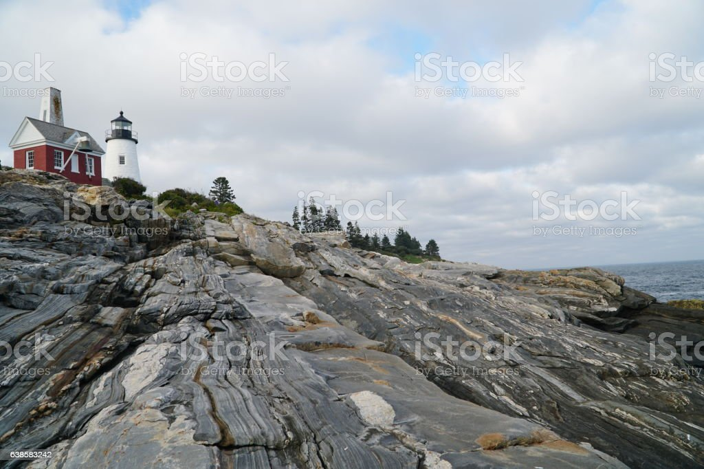 Pemaquid Point Light House with blue sky stock photo