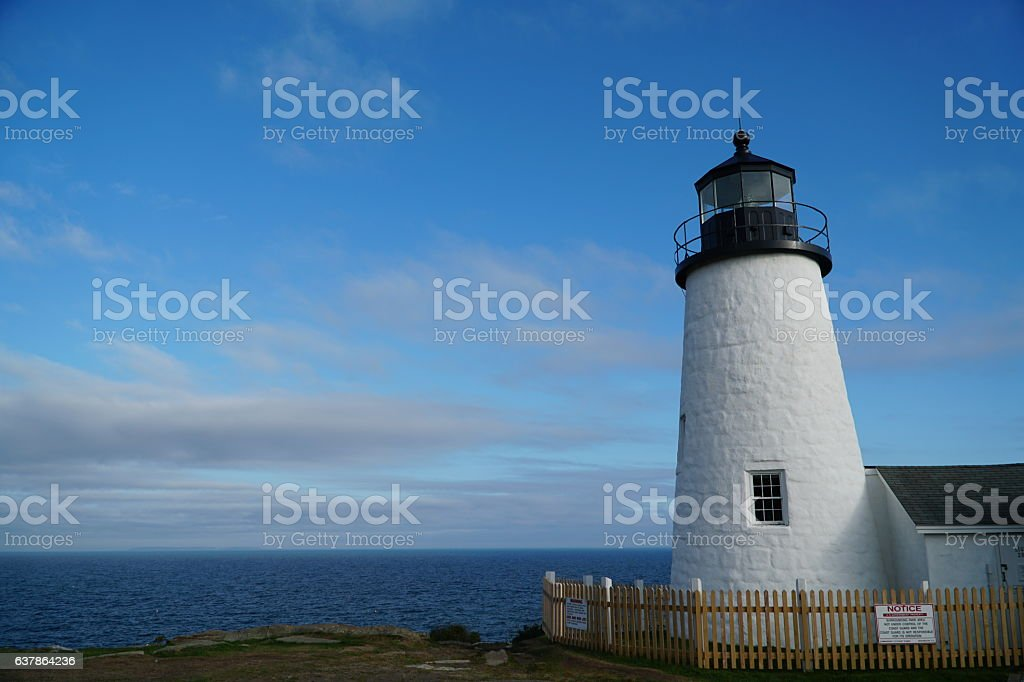 Pemaquid Point Light House with the ocean stock photo