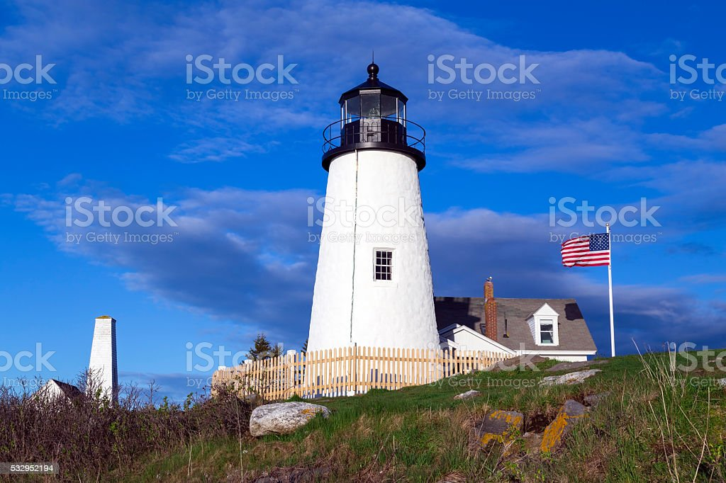 Pemaquid Point Light in Bristol, Maine stock photo
