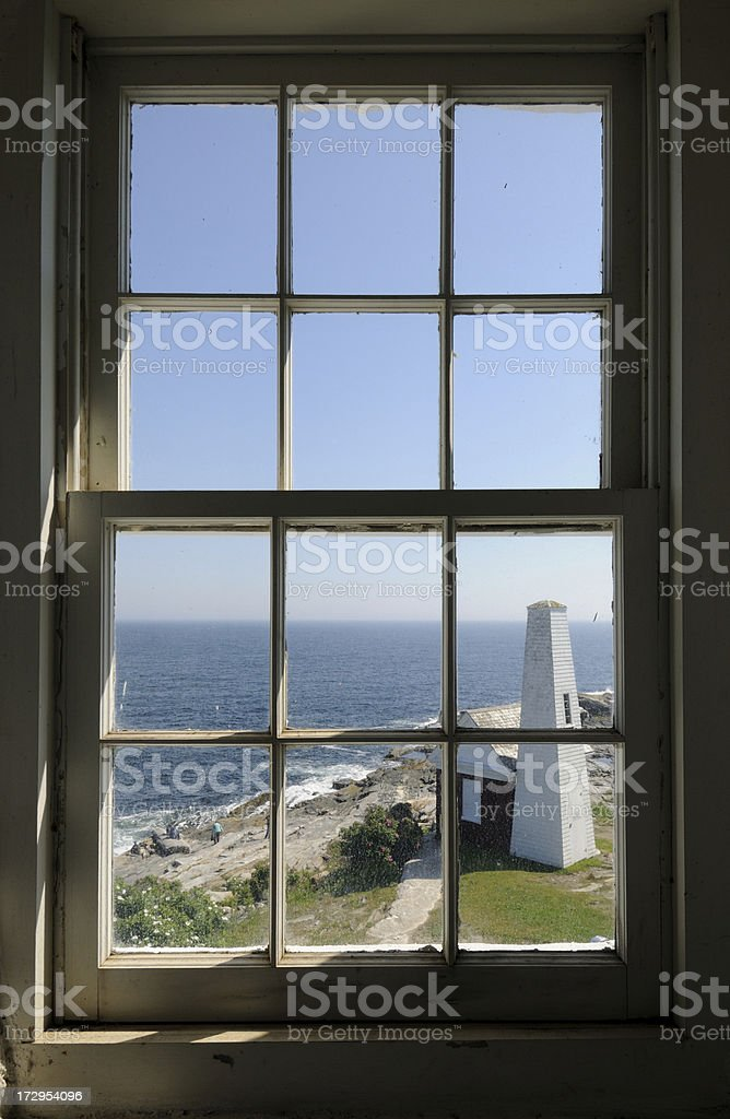 Pemaquid Point Light Window stock photo