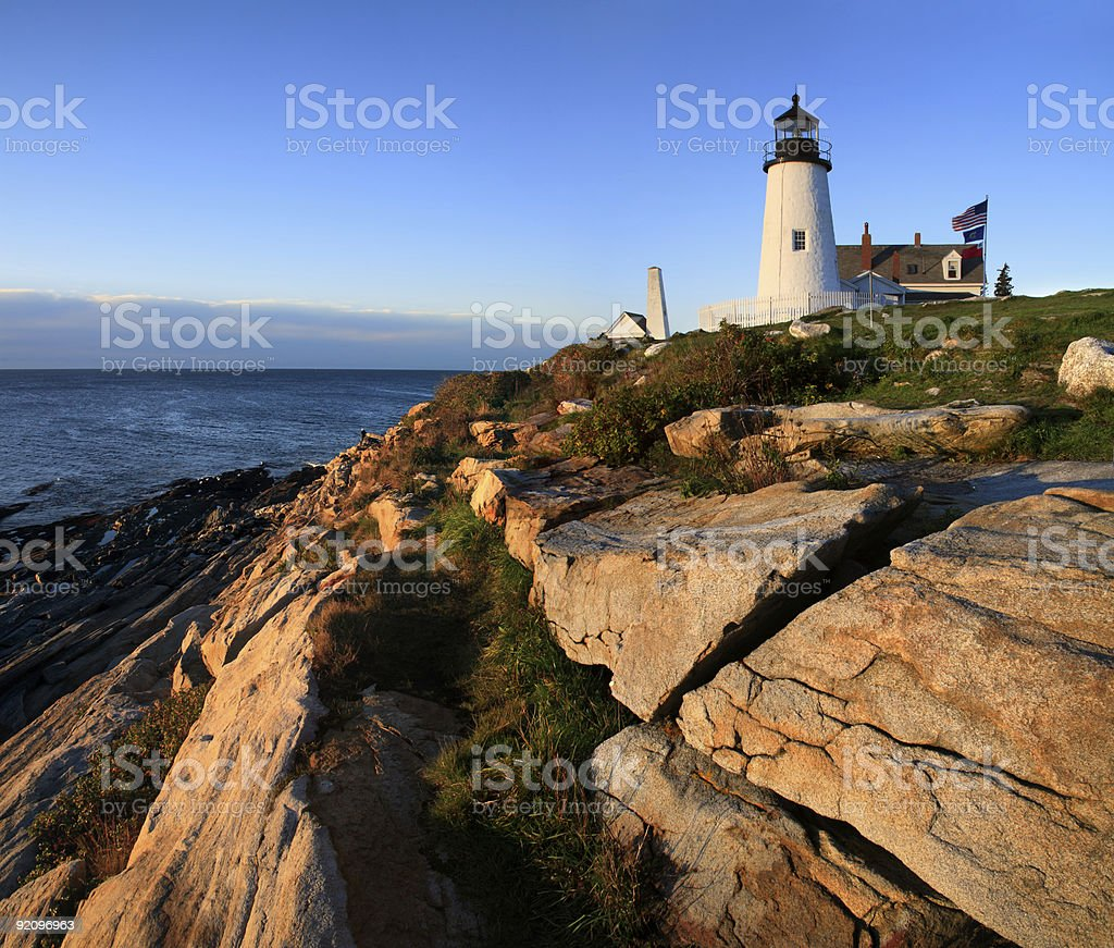 Pemaquid Point Lighthouse At Sunrise, Bristol, Maine stock photo
