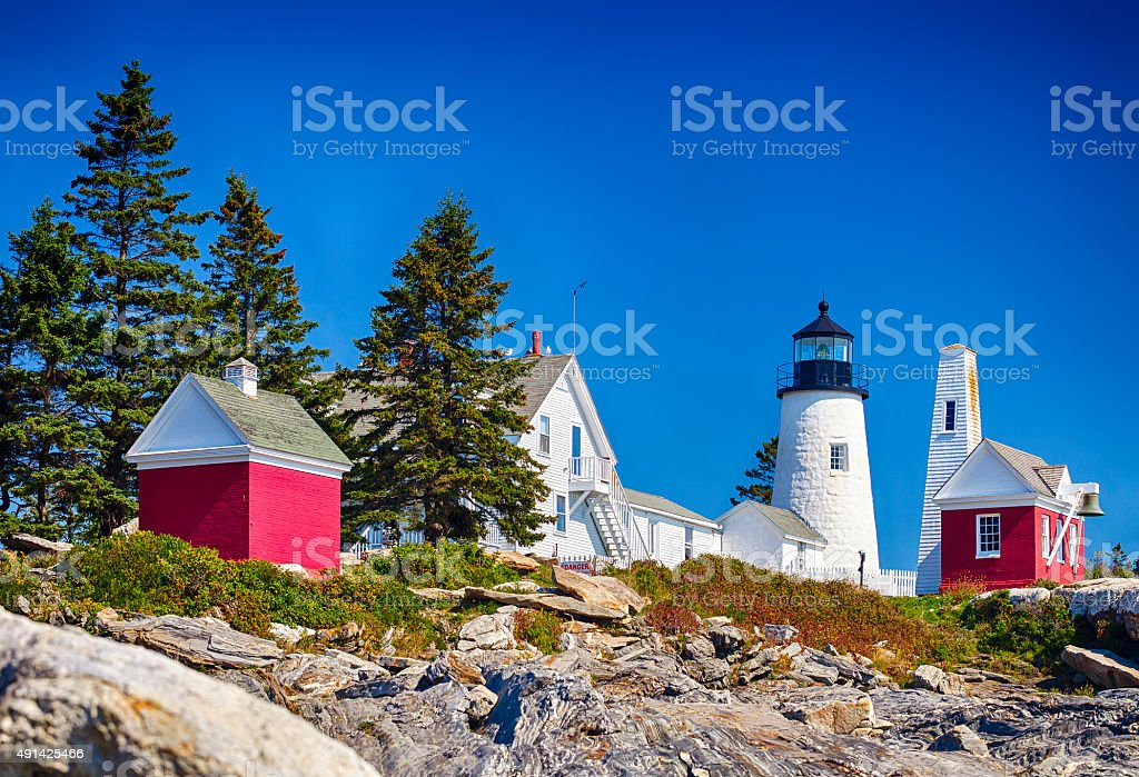 Pemaquid Point Lighthouse In Maine, USA stock photo
