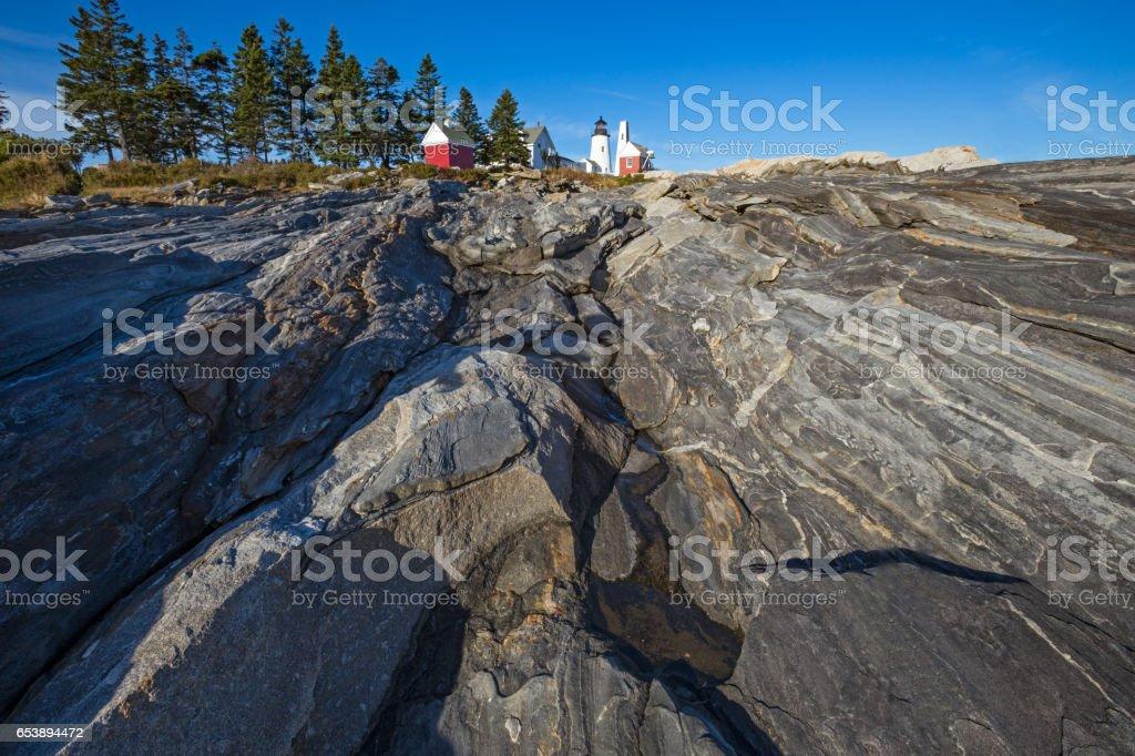 Pemaquid Point Lighthouse on the Atlantic coast of Maine stock photo