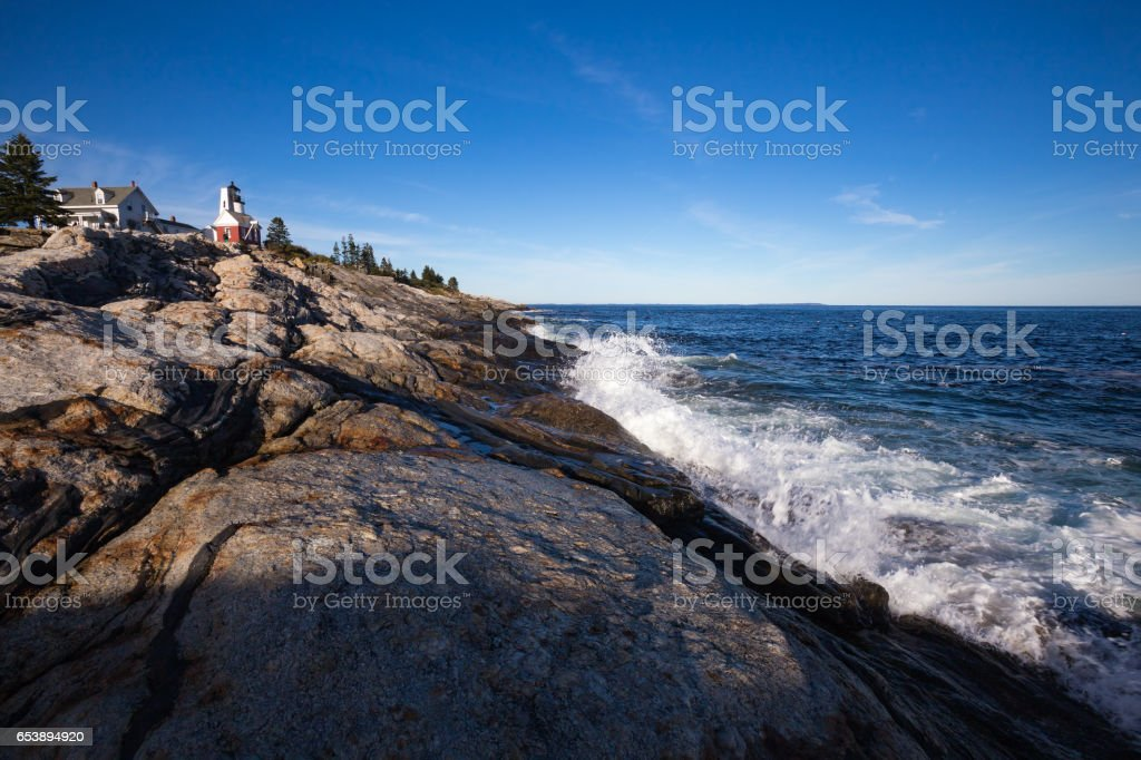 Pemaquid Point Lighthouse on the Atlantic coast of Maine stock photo