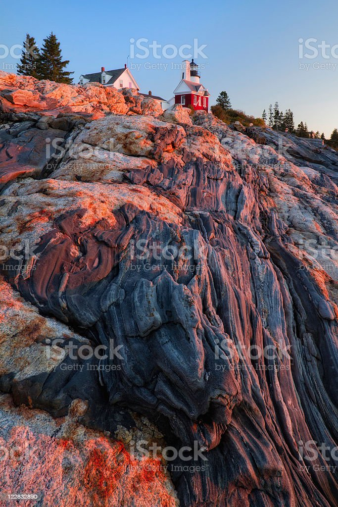 Pemaquid Point Lighthouse Sunrise stock photo