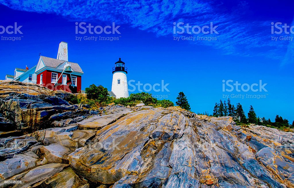 Pemaquid Point Lighthouse-HDR stock photo