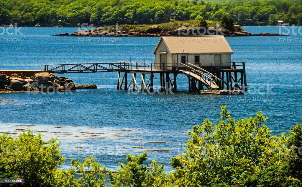 Pemaquid River Fish House stock photo