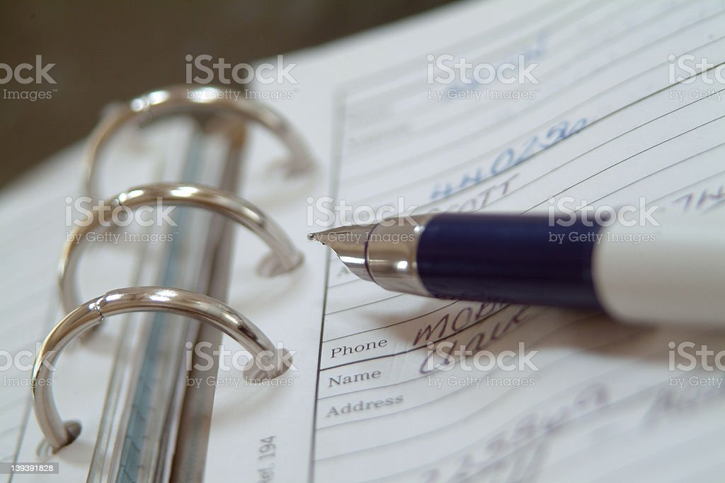 pen and address book royalty-free stock photo