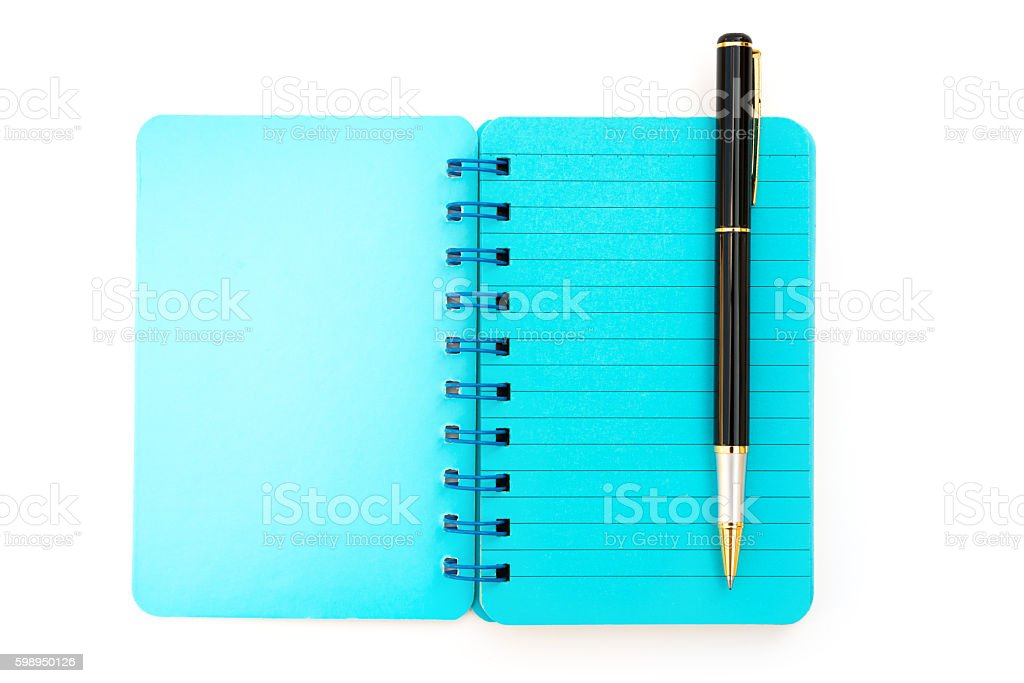pen and blue notebook on white stock photo