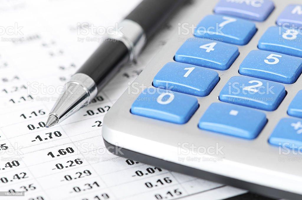 pen and calculator stock photo