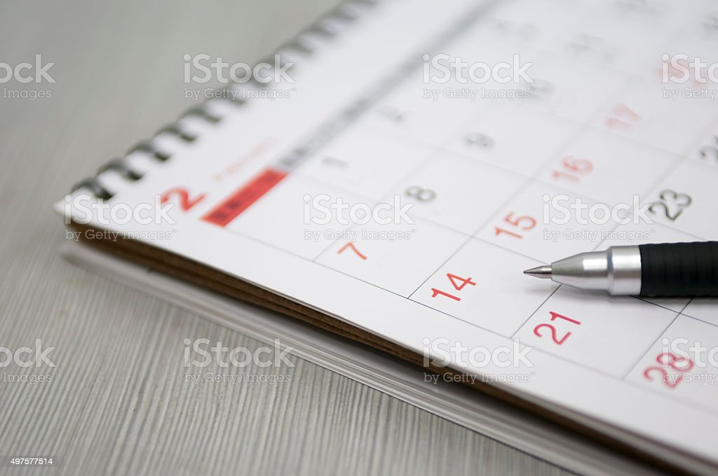 pen and calendar stock photo