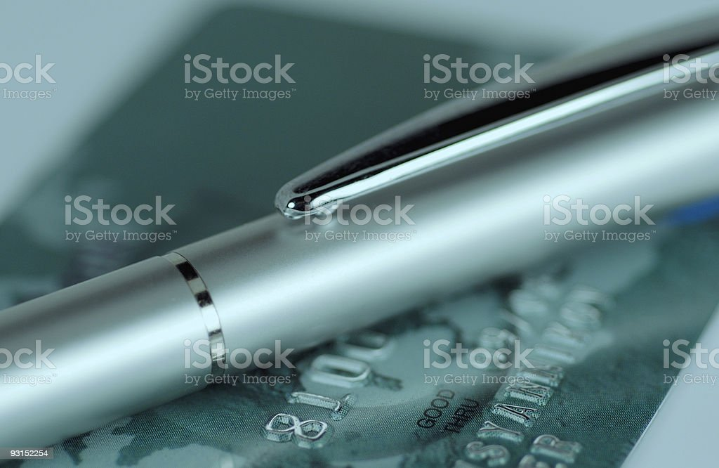 Pen and credit card royalty-free stock photo