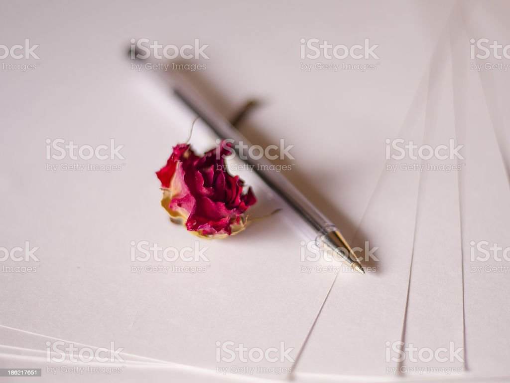 Pen and Dried Rose on Top of Blank Papers stock photo