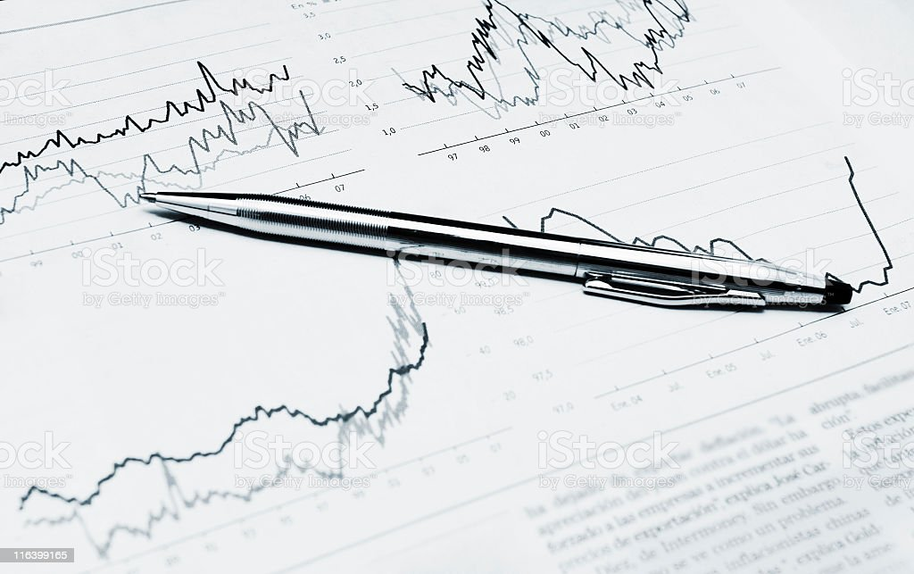 pen and financial report royalty-free stock photo