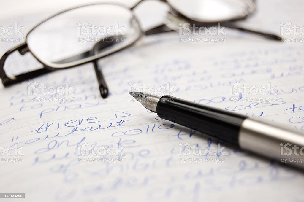 Pen and glasses royalty-free stock photo