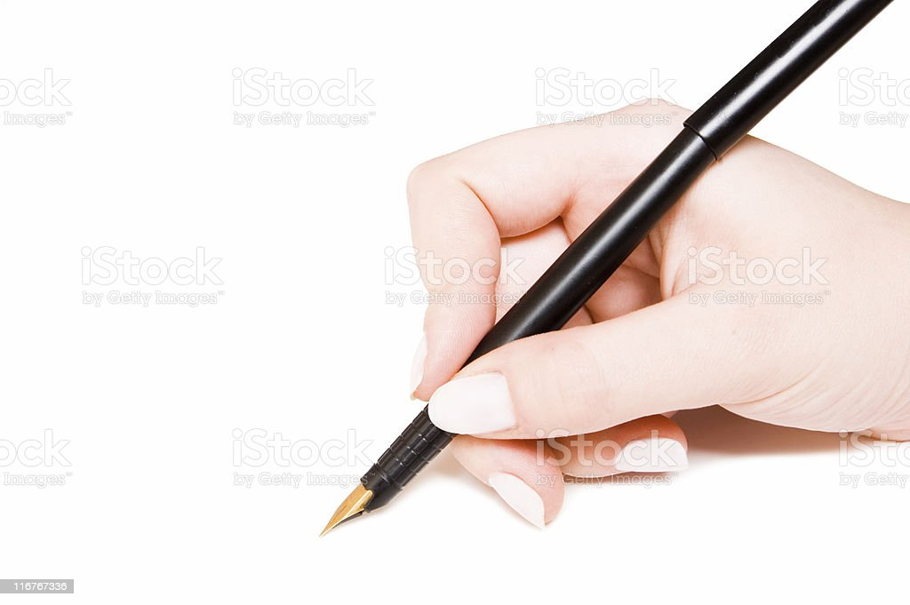 pen and hand royalty-free stock photo