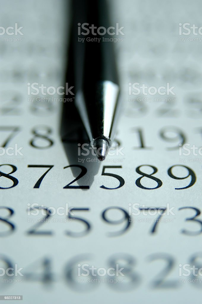 Pen and Numbers royalty-free stock photo