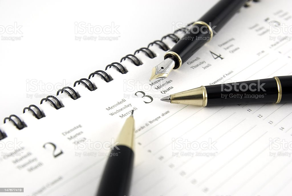 Pen and planner royalty-free stock photo
