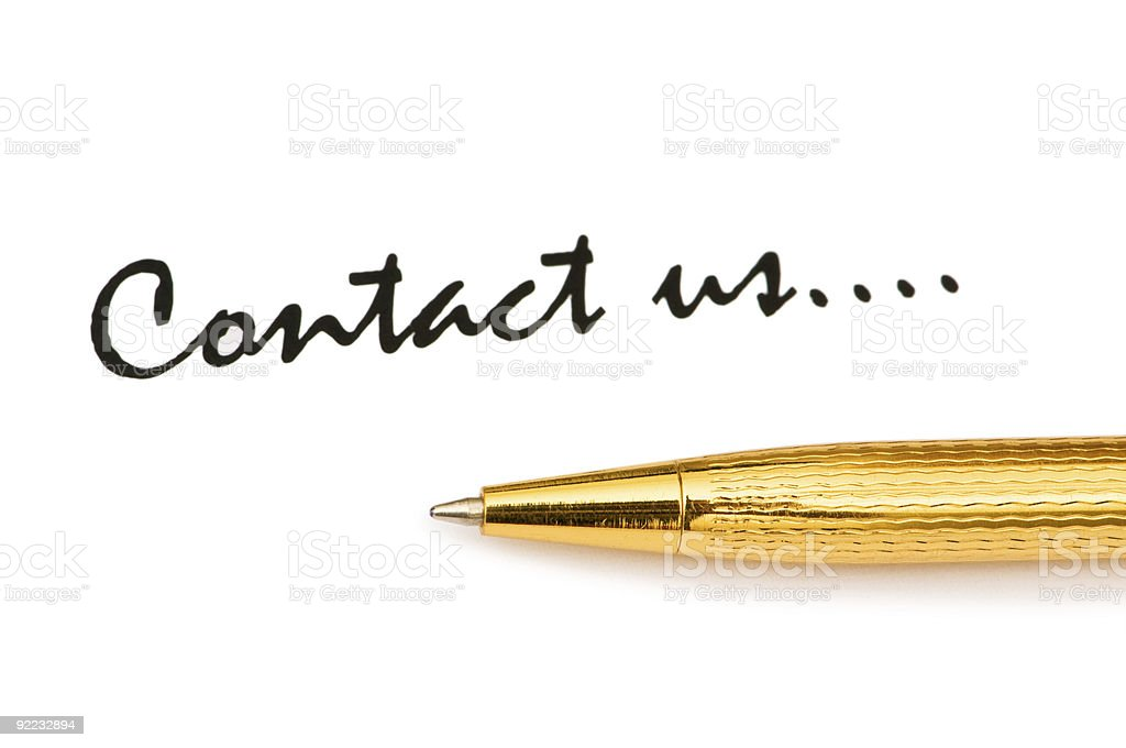 """Pen and """"Contact us"""" message on white royalty-free stock photo"""
