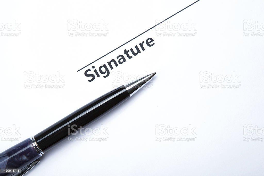 pen and signature stock photo