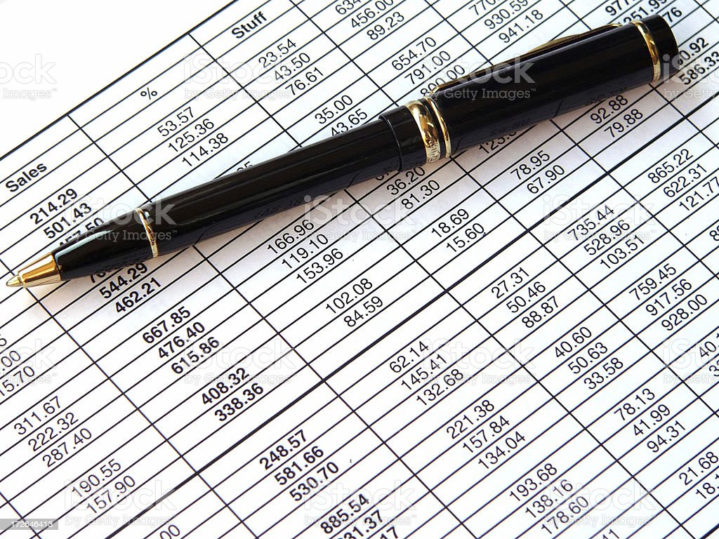 Pen and spreadsheet royalty-free stock photo