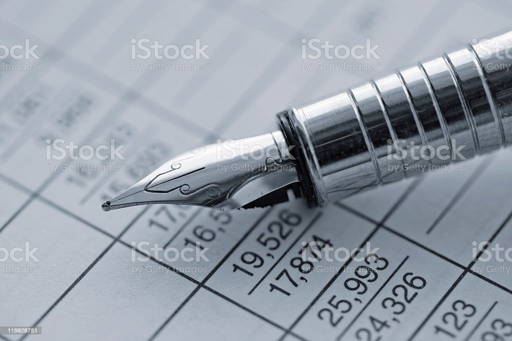 Pen and statistics royalty-free stock photo