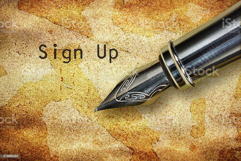 Pen and text Sign Up stock photo