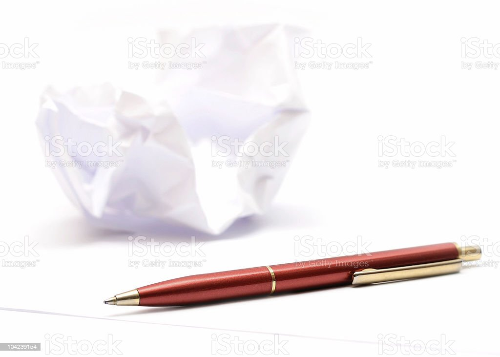 Pen and Wrinkled Paper royalty-free stock photo