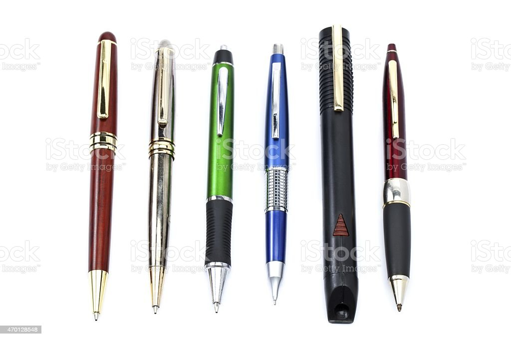pen arranged in a row stock photo