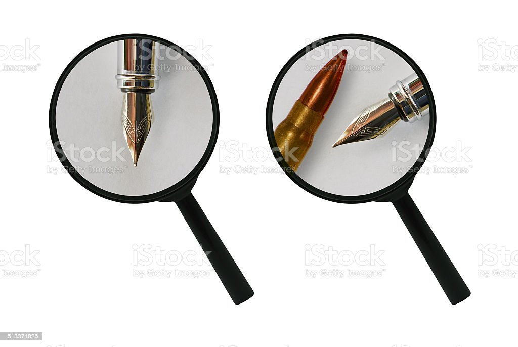 Pen bullet and magnifier stock photo