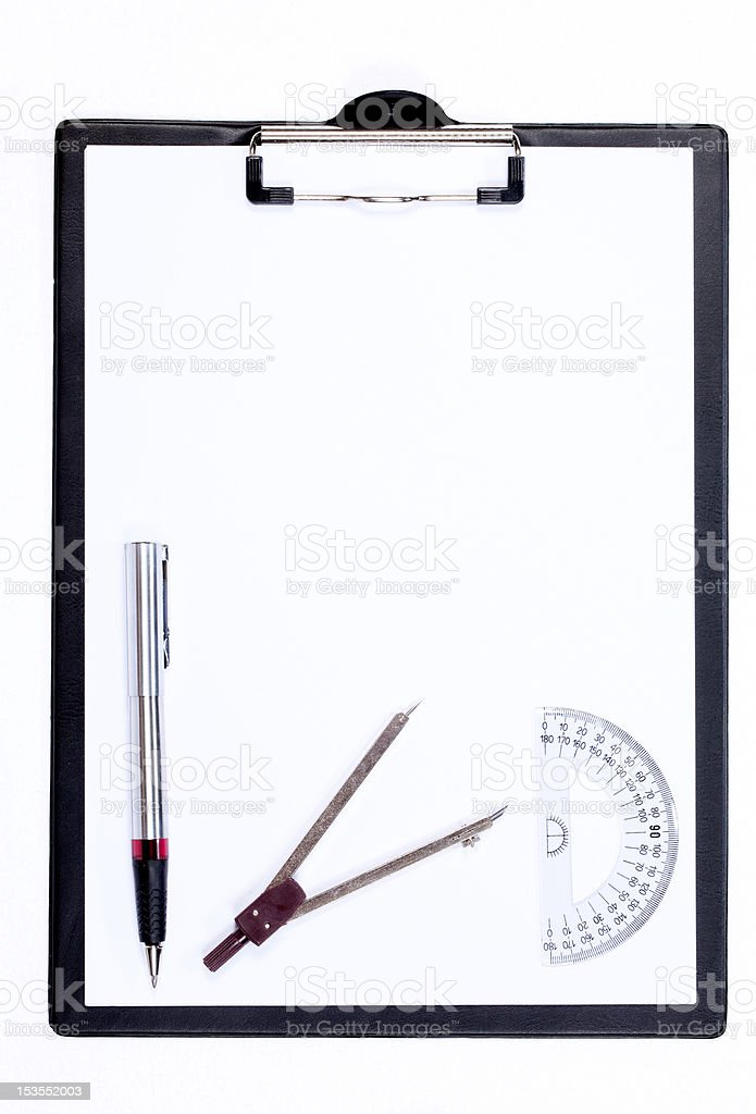 pen, drawing compass, protractor on clipboard royalty-free stock photo