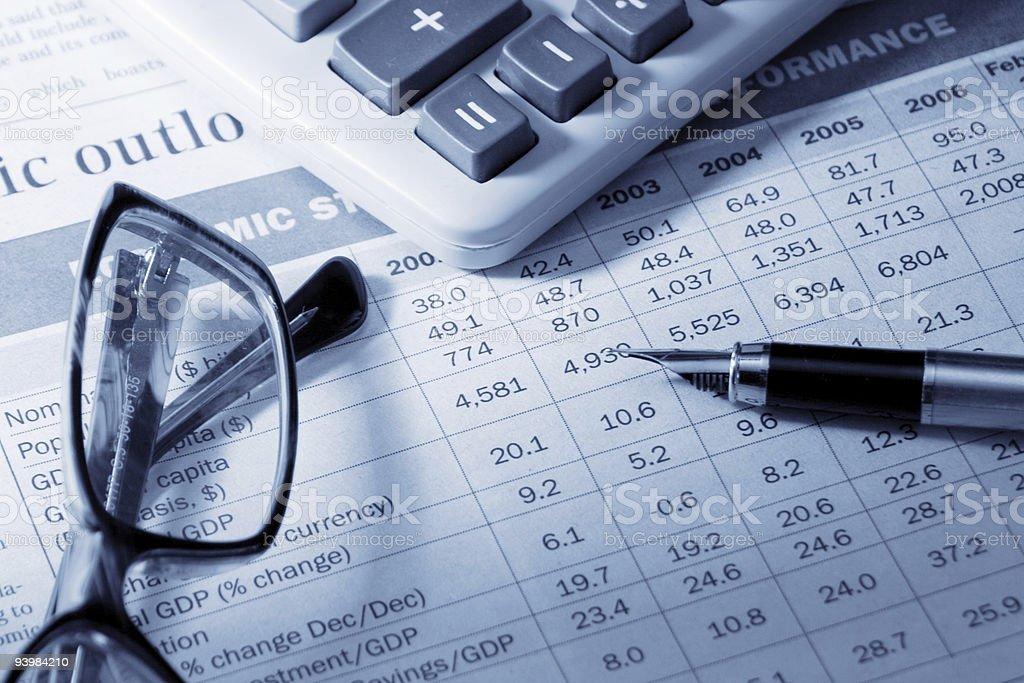 pen, eyeglasses and calculator royalty-free stock photo