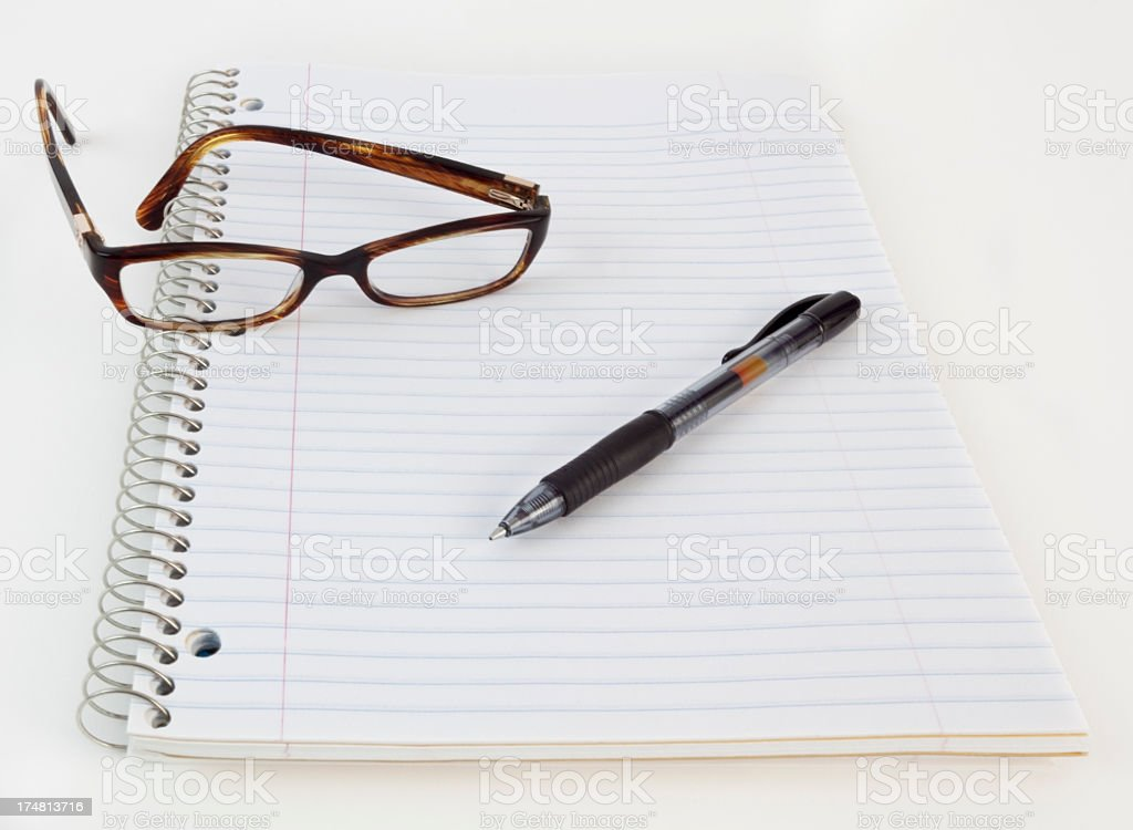 Pen Glasses Notebook royalty-free stock photo