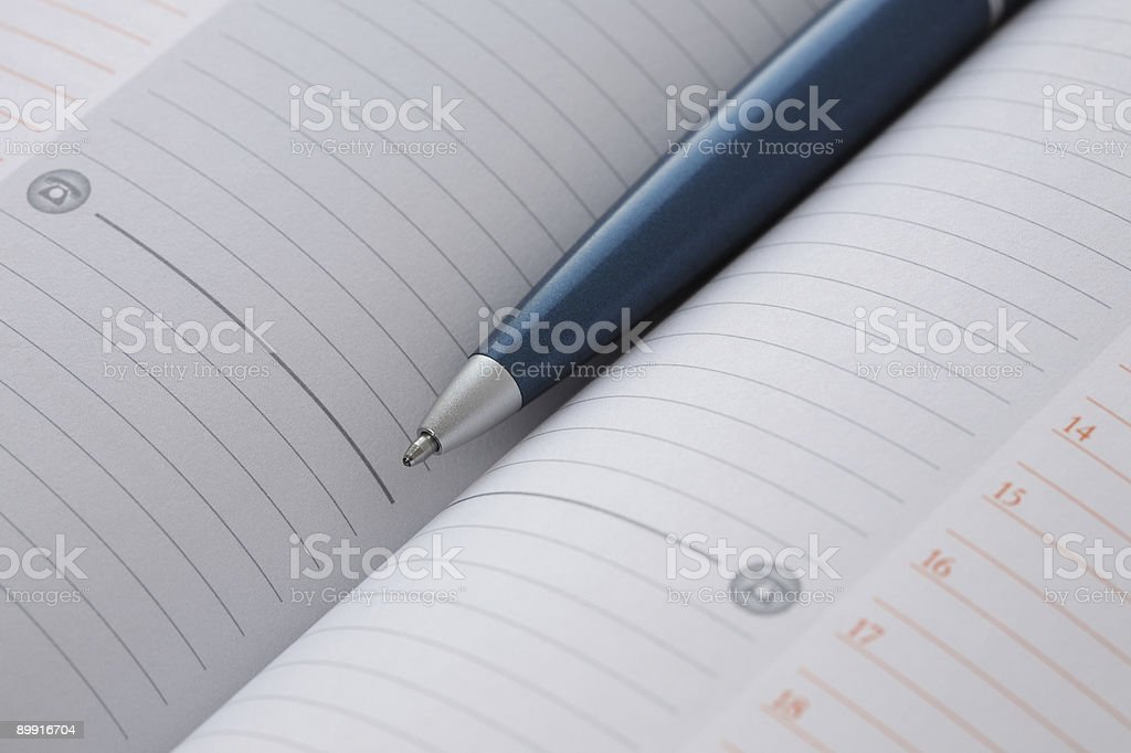 Pen in daily organizer royalty-free stock photo