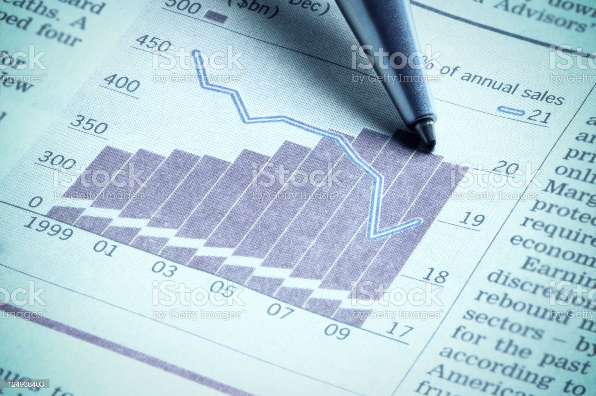 Pen indicating, showing diagram on financial figures royalty-free stock photo