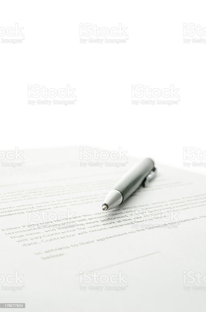 Pen on a contract royalty-free stock photo