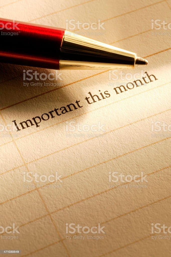 Pen on Appointment Calendar royalty-free stock photo