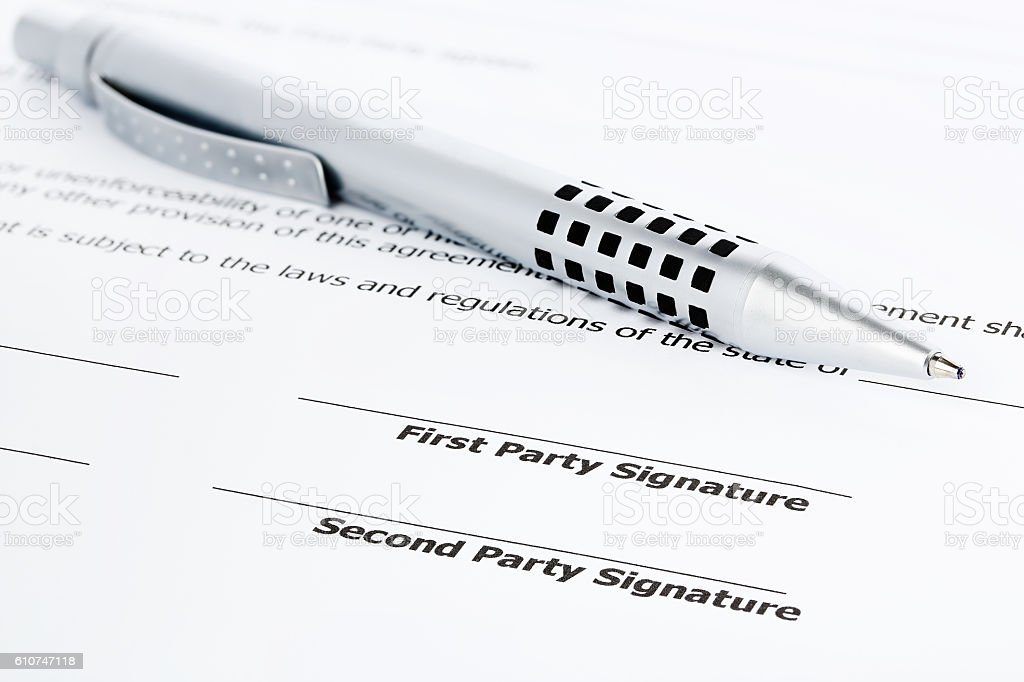pen on contract stock photo