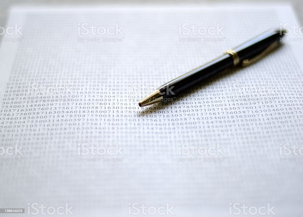 Pen on document I royalty-free stock photo
