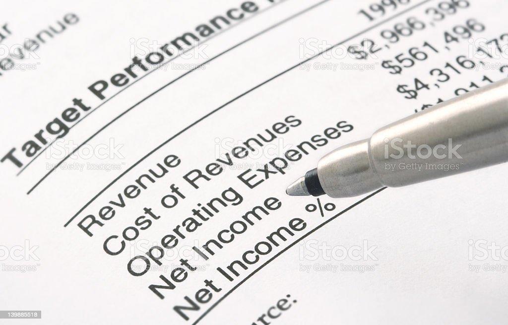 Pen on Financial Statement stock photo