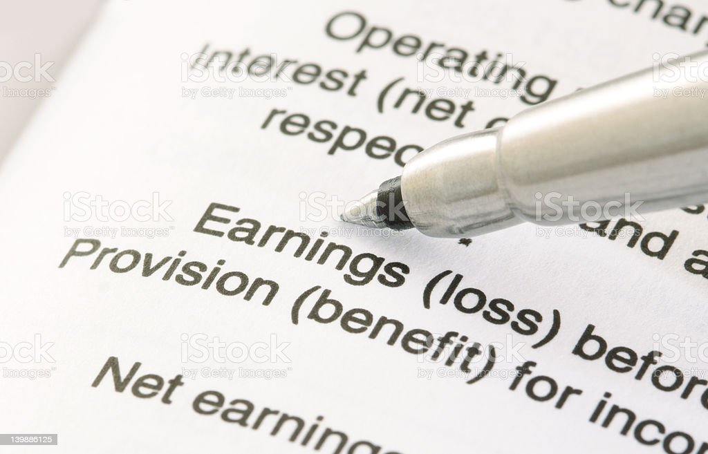 Pen on Financial Statement royalty-free stock photo