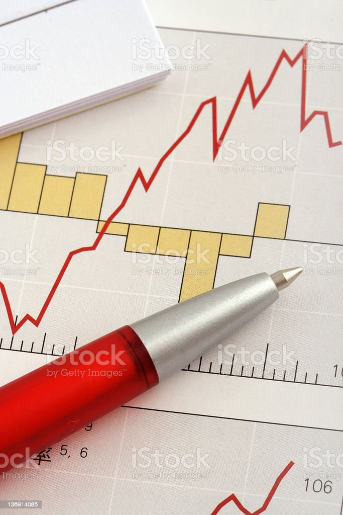 Pen on Graph royalty-free stock photo