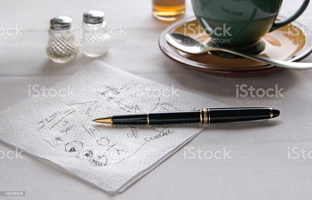Stylo sur Serviette de table photo libre de droits