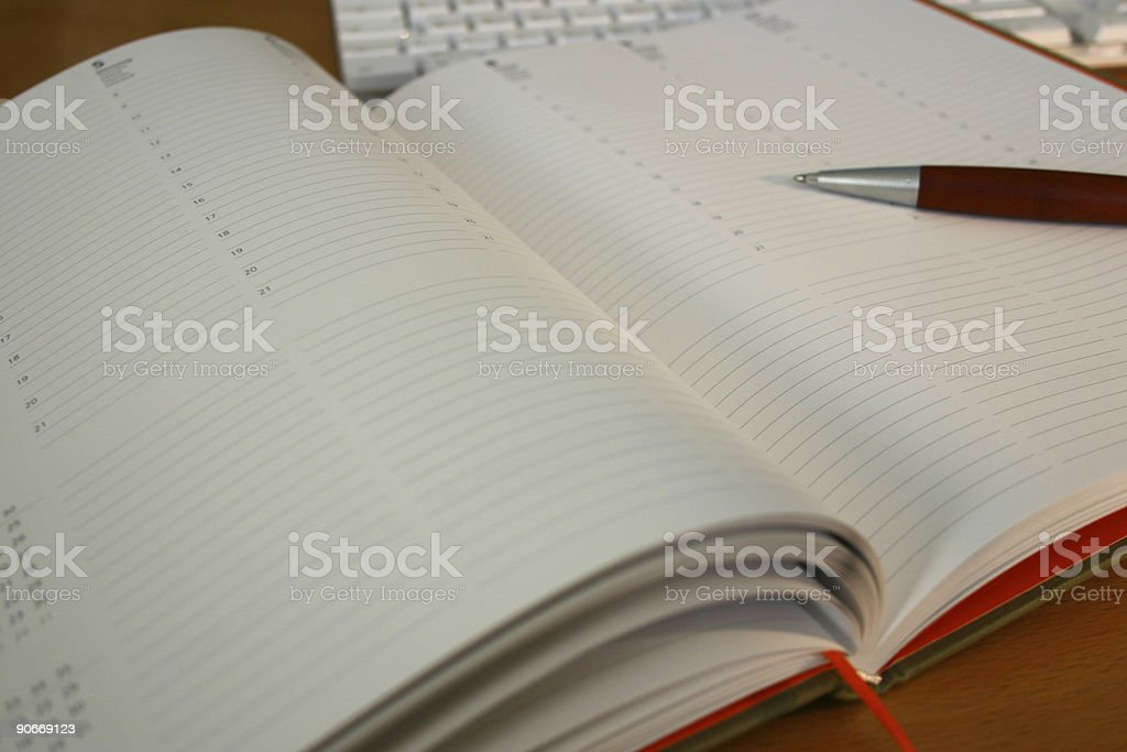 pen on planner royalty-free stock photo