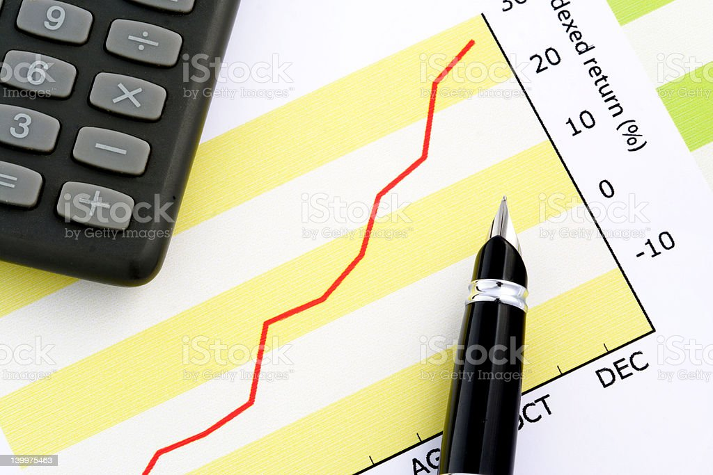 Pen on Positive Earning Graph royalty-free stock photo