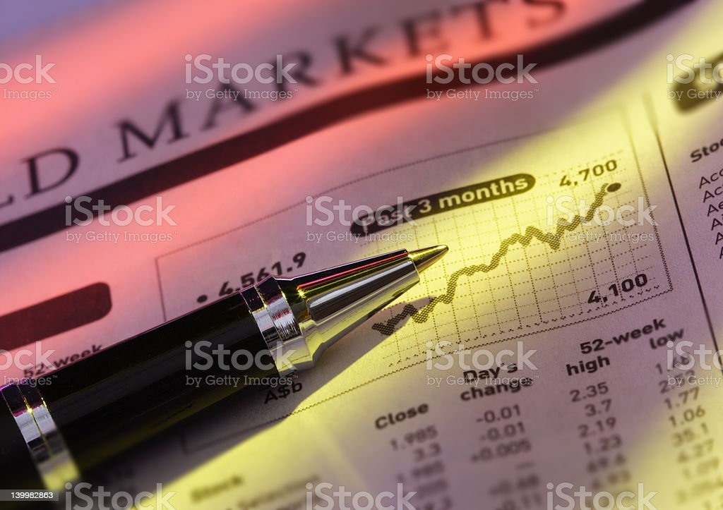 Pen on Stock Price Chart royalty-free stock photo