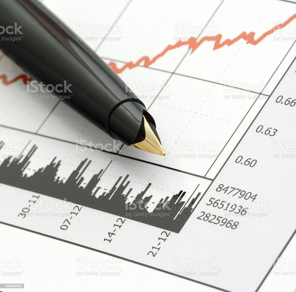 Pen on Stock Price Chart royalty-free stock photo
