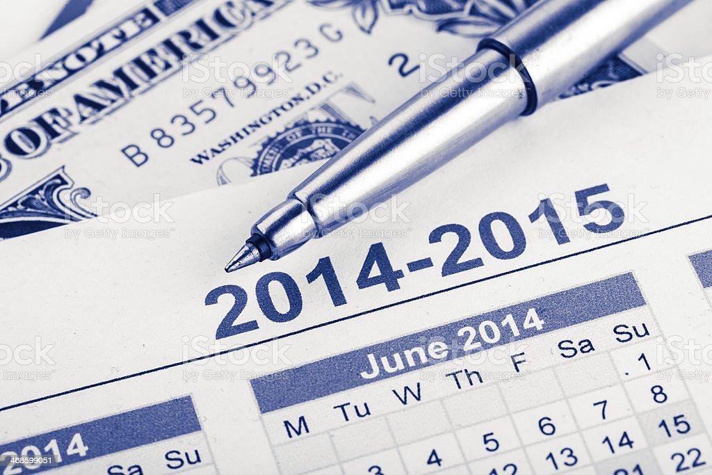 pen on the 2014 calendar royalty-free stock photo